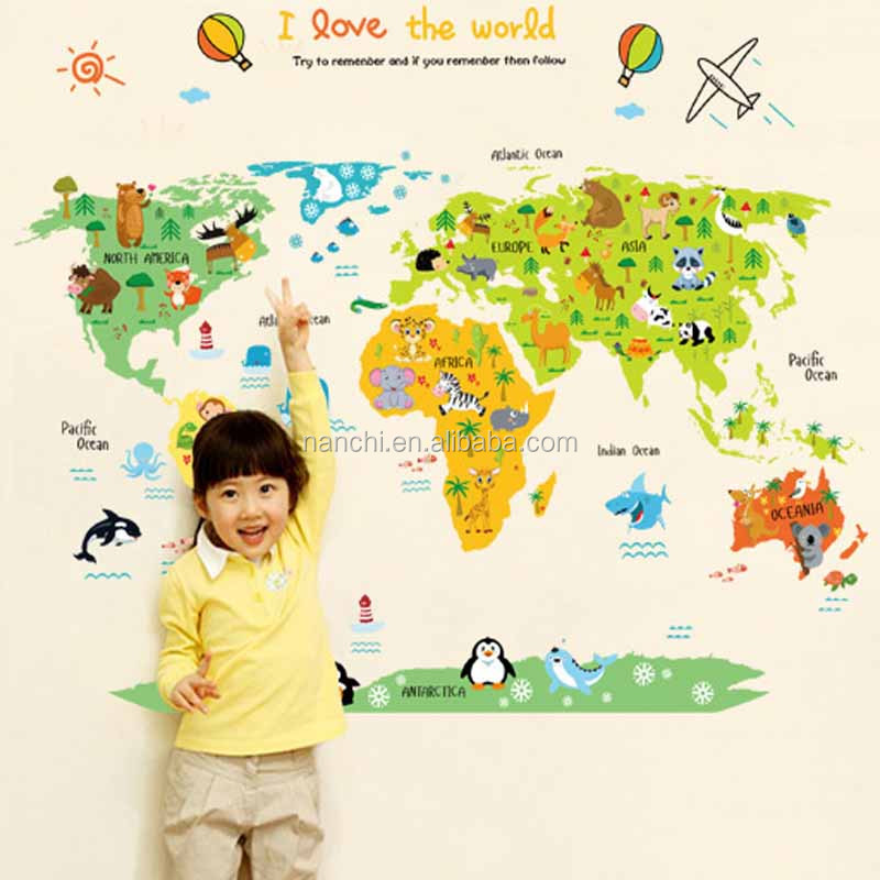 Study World Map.Large Hot Selling Puzzle World Map Wall Stickers Children Room