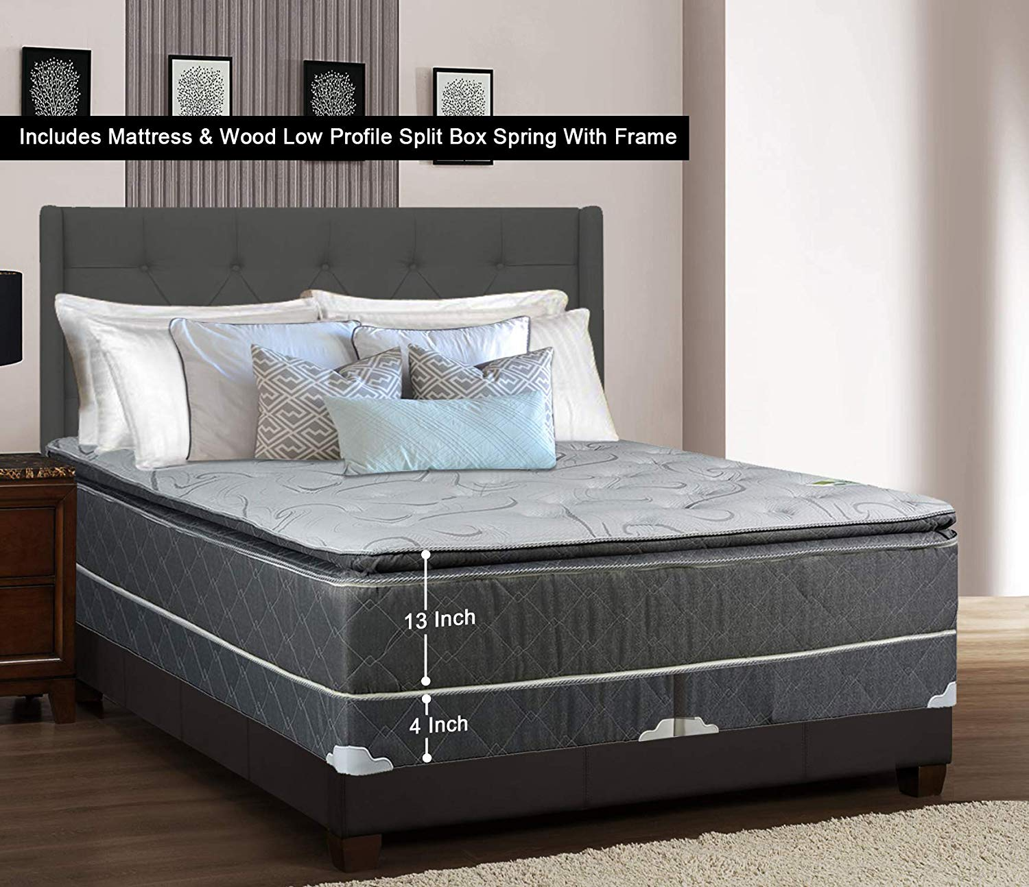 Greaton 9030vF-6/0-2LPS Fully Assembled Medium Plush Pillow Top Innerspring Mattress and 4-inch Split Wood Box Spring/Foundation Set with Frame Size| Grey and, California King, Color