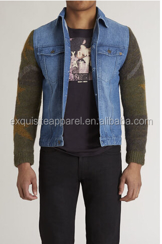 100% Cotton button up front double breasted flap pockets denim jackets with knitted sleeves