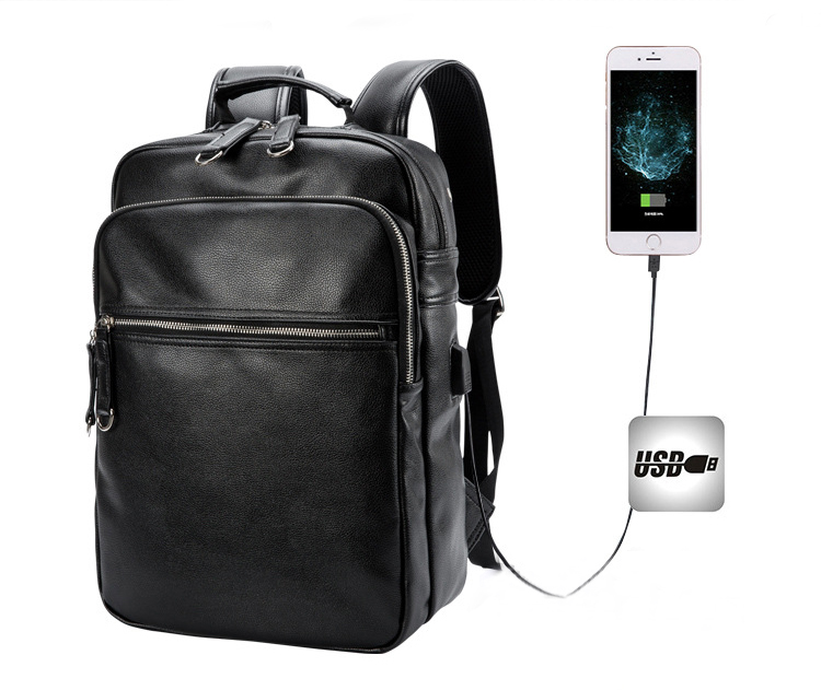 2020 USB smart charging PU leather backpack, innovative school backpack, USB business bagpack