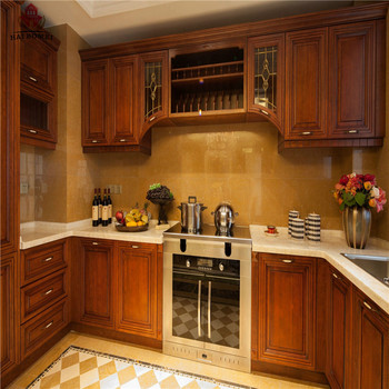 High End Knock Down Pantry Cupboards Cherry Wood Kitchen Cabinet With Wooden Accessories Cupboard