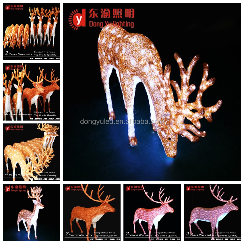Outdoor Christmas Decoration Led Lighted Reindeer Carriage Abs Or Acrylic Reindeer With Sleigh Led Christmas Lights