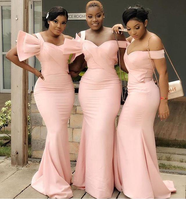 New Bridesmaid Dresses Long Special Shoulder Design Pink Mermaid Evening Dress Bridesmaid Dress