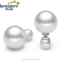 8mm and 12mm round sea shell 925 silver double side pearl earring ER212