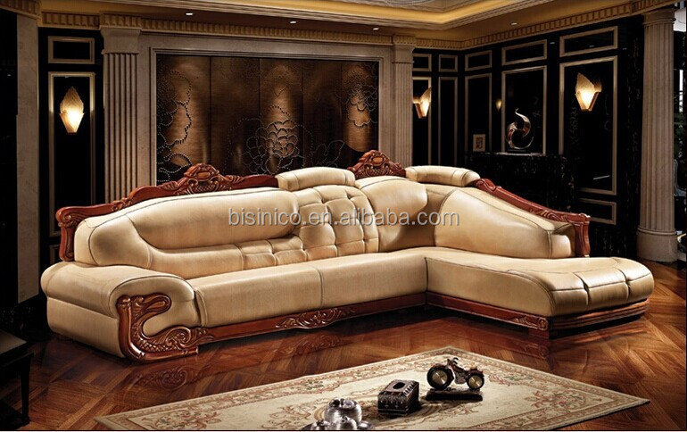 European Style Living Room Sofa Set Genuine Leather Corner And Chaise Lounge Bf01
