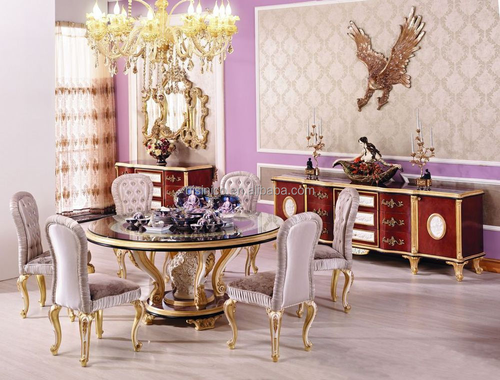 French classic dining room furniture luxury wooden round Luxury wood furniture