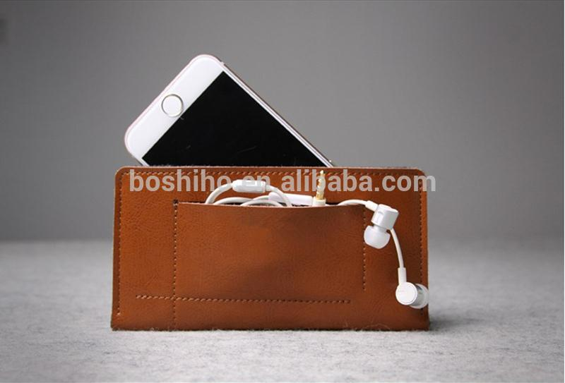 2015 Newest Unique Design Genuine Leather Flip Sleeve Wool Felt Case Cover For iPhone 5S 5C With Card Slot Phone Case