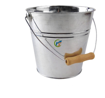 galvanized metal water pail with wooden handle buy metal water