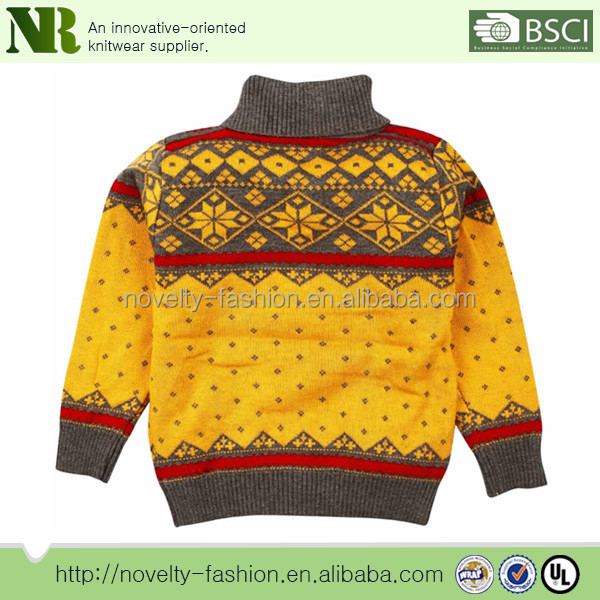 Woolen Sweater Designs For Kidscollared Neck Jacquard Woolen