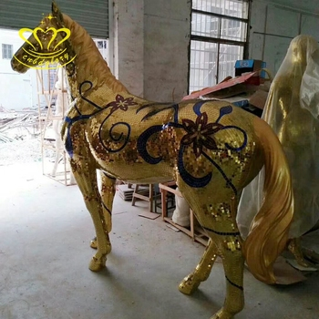 China supplier fiberglass craft New product Mosaic sculpture Life Size Animal horse statue for garden home decor