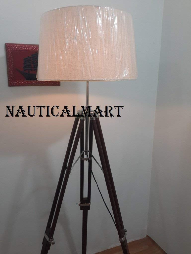 Nautical Vintage Chrome Tripod Floor Lamp Industrial Nautical Vintage Nautical Marine Floor Lamp