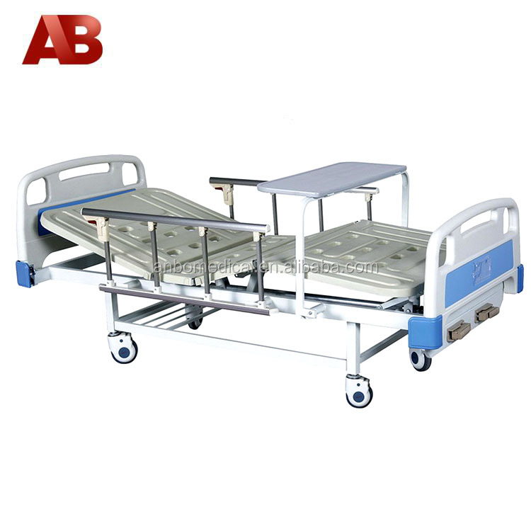 Medical bed double functions with food table and side rails
