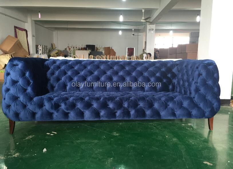 2017 New Blue Velvet Chesterfield Button Tufted Sofa SF-0882 Velvet Cozy  Chesterfield Sofa Sets
