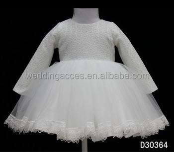 D30364 Elegant Lace Flower Girls Dresses with Long Sleeve