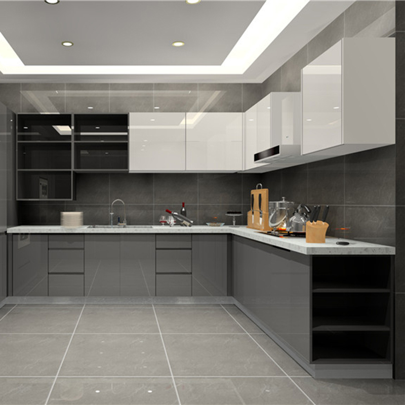 Bon High Gloss Finish Kitchen Cabinet Grey Base Cabinet And White Wall Cabinet