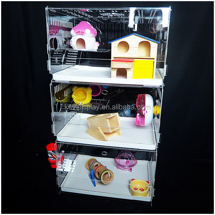 Cuboid Transparent Acrylic Hamster Cage With Easy Clean Drawer And Toys