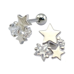 Wholesale Fashion Design Zircon Star Ear Barbell Cartilage Tragus Earring Studs Stainless Steel Piercing Jewelry
