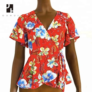 sexy print tunic ladies blouses for women and girls