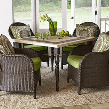 Stone granite top square table with 4 rattan dining chairs rooms to go outdoor furniture
