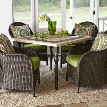 stone granite top square table with 4 rattan dining chairs 19663 | stone granite top square table with 4 350x350