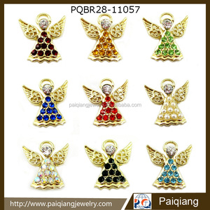 Latest design hot sale fashion Christmas angel crystal rhinestone brooch pin