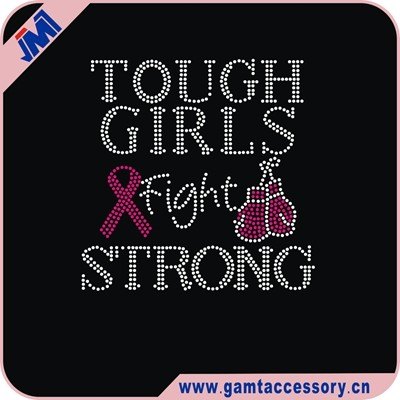strong girl cancer motif hotfix rhinestone heat transfer design for trimming