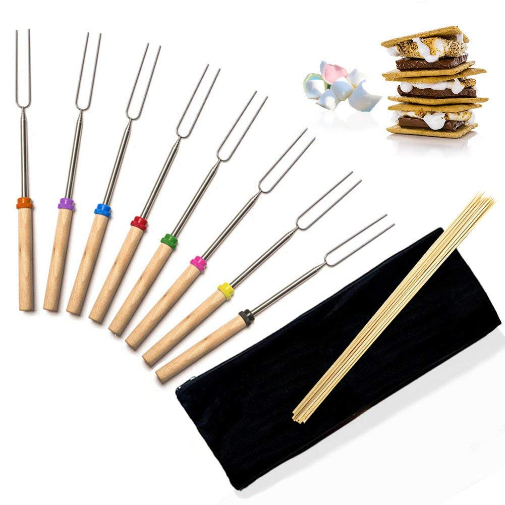 Smores Marshmallow Roasting Sticks - Aoduoer Camping Stainless Steel Roasting Sticks Hot Dog Smores Skewers for Camp Campfire Barbecue, 8 Piece Telescoping BBQ Forks, Free Storage Bag, Safe For Kids