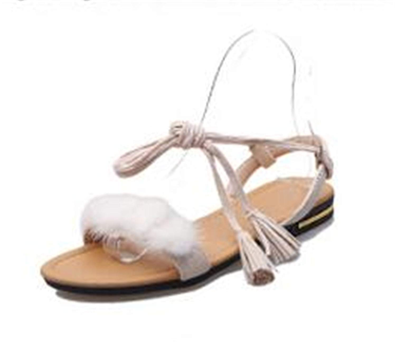 Processes Real Fur Ankle Strap Gladiator Sandals Women Flats 2018 Summer Tassel Shoes