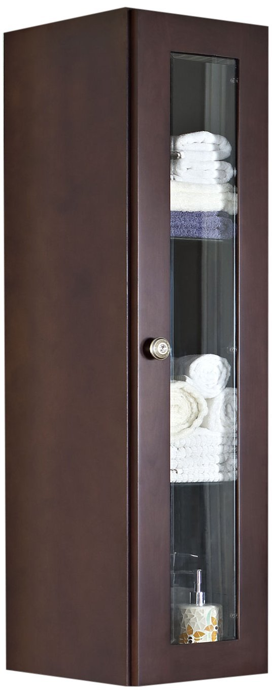 American Imaginations 337 12-Inch by 48-Inch Solid Cherry Wood Reversible Door Wall Curio, Coffee Finish