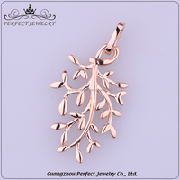 2017 Fashion Design High-End Ladies Style Unique Leaf Shape Pendant Rose Gold Plating 925 Silver Jewelry