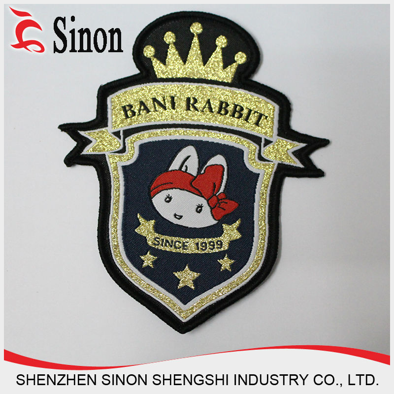 China polyster cheap custom metallic thread woven clothing patch