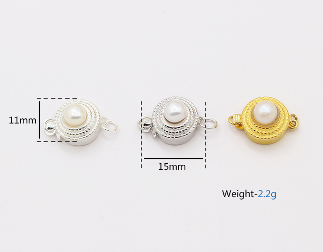 Wholesale 925 sterling silver accessory box clasp in circle shape with pearl inlay for bracelet and necklace making