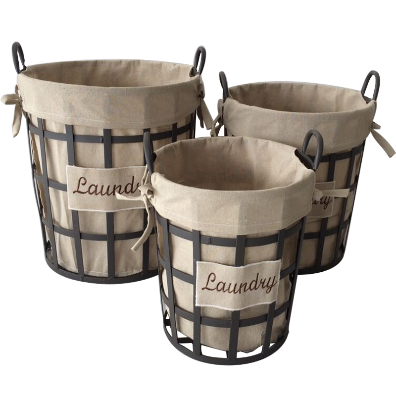 Round metal wire containers and baskets with liners for storage