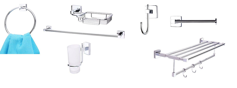 KRM Combo 7- Solitaire Towel Ring+ Towel Rod+ Soap Dish+ Tumbler Holder+ Robe Hook+ Toilet Paper Holder+ Towel Rack - Pure Brass