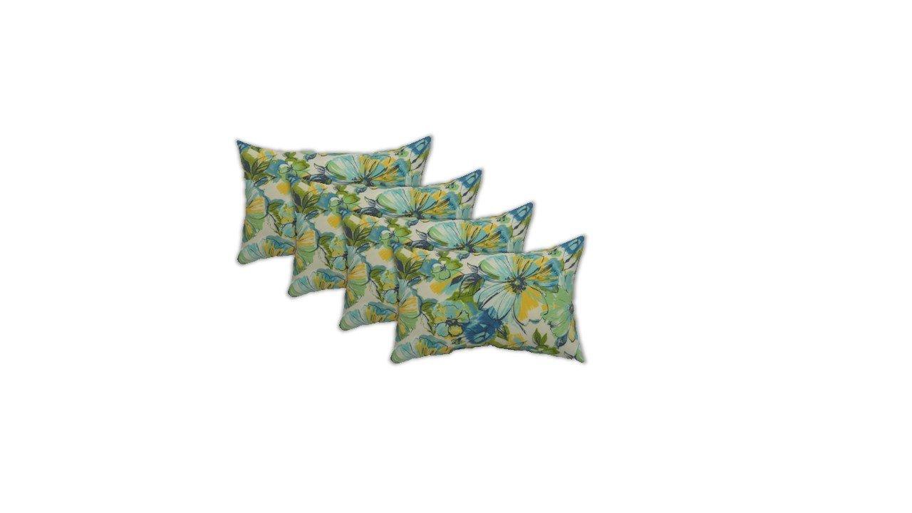 Resort Spa Home Decor Set of 4 Indoor/Outdoor Decorative Lumbar/Rectangle Pillows - Green Yellow Blue Floral Pattern