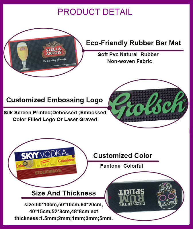 Eco-friendly Soft Silicone Pvc Logo Bar Drink Drip Rail Mats