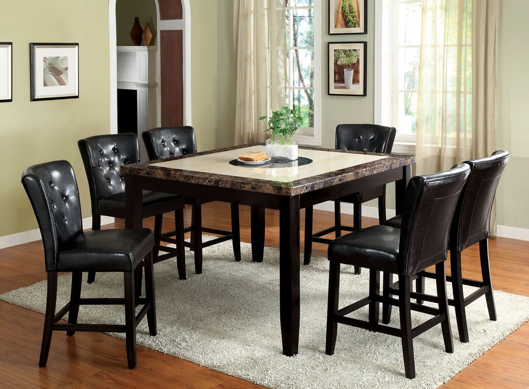 Get Quotations 7 Pc Belleview Ii Dark Gray And White Faux Marble Table Top Black Wood