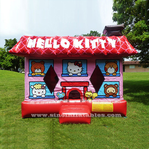 Commercial grade kids hello kitty inflatable bounce house for sale made of 0.55mm pvc tarpaulin from China factory