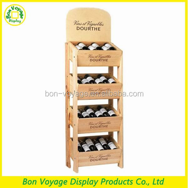4 tiered classical wine rack wooden bottle display cases for retail stores