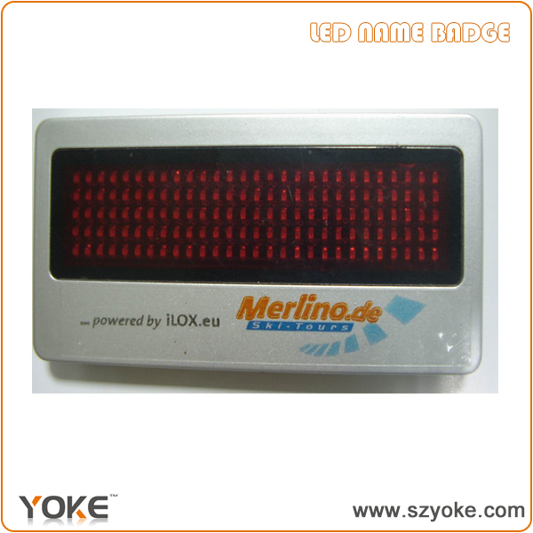5*28 dot matrix red led name badge