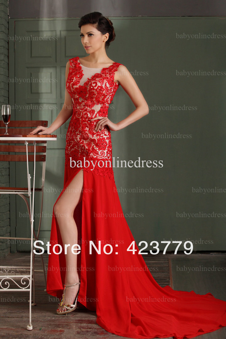 Best Selling 2013 Real Sample Red Lace Prom Dresses Sexy ... Lace Prom Dresses 2013