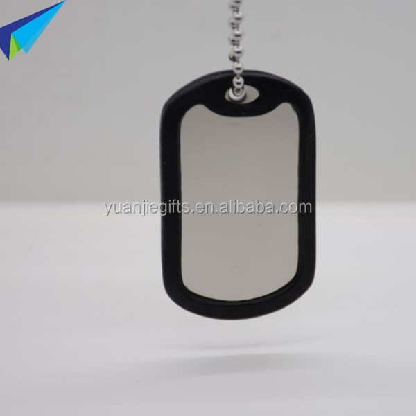 Strong blank military grade dog tags with ballchain