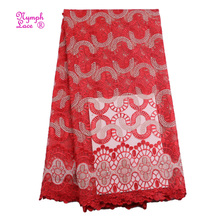 100% polyester red Nigerian wedding Guangzhou rhinestone tulle mesh embroidery net french lace dress fabric african lace fabrics