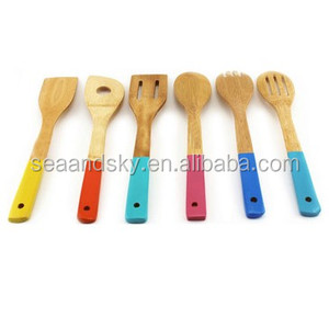 5 Pieces turner slotted spatula spoon slotted spoon and a single hole mixing spoon Bamboo's Utensils set
