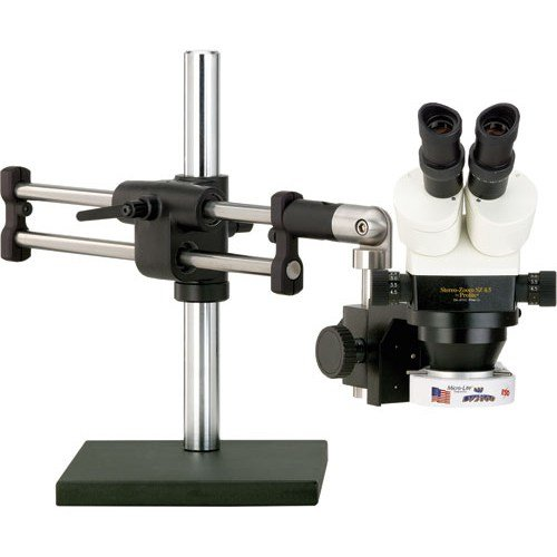O.C. White TKSZ-LV2 Prolite 4.5 Binocular Stereo Zoom Microscope, 10x Eyepieces, 3.5x-45x Magnification, 0.7x-4.5x Zoom Objective, 0.5x Auxiliary Objective, LV2000 LED Ring Illuminator, Ball-Bearing Base, 120V-240V
