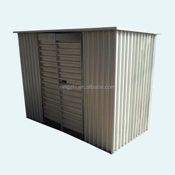 8u0027x4u0027 Pent Roof Green Prefab Backyard Metal Garden Shed  DIY Steel Kit