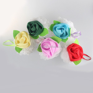Luxury rose bath soap sponge nylon mesh bath sponge net bath sponge for wholesale