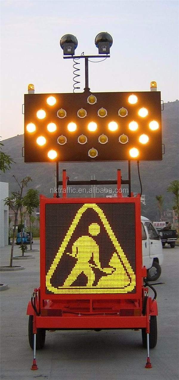Aluminum Alloy Solar Road Safety Signs Flash Led Warn Arrow Board ...