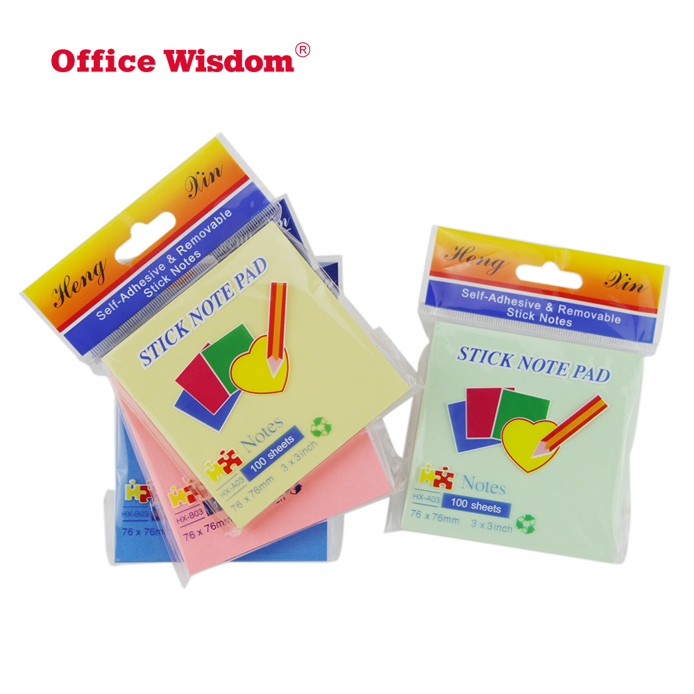 NingBo Office wisdom Top Quality Customized Promotion Custom made sticky note pad different color with Colorful Sticky Note