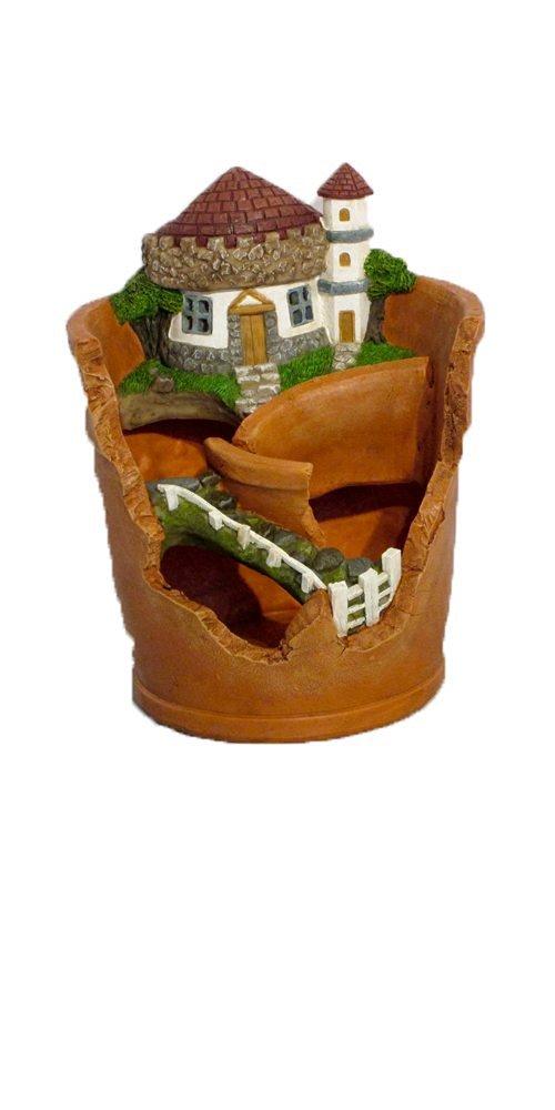 "Provence PF2869 Fairy Garden Miniature Plant Polyresin Pot with Solar Light, 7"" x 7"" x 9"", Clay"